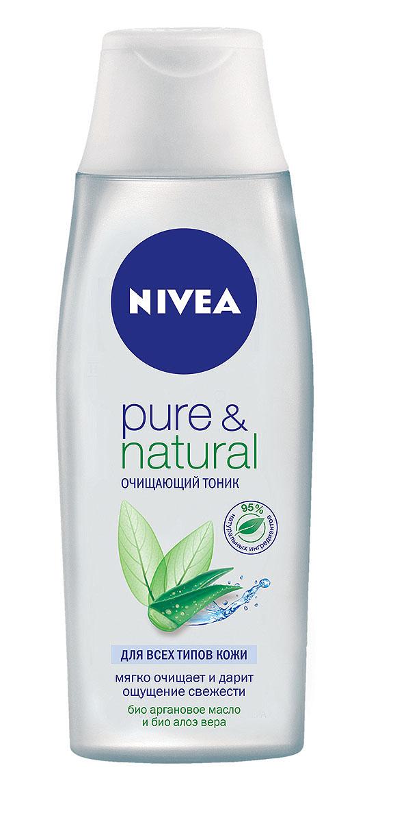 NIVEA Очищающий тоник Pure &Natural 200 мл1002077Очищающий тоник Nivea Visage Pure & Natural предназначен для всех типов кожи. Тоник с аргановым маслом и алое вера глубоко очищает кожу, не пересушивая ее. Характеристики: Объем: 200 мл. Производитель: Германия. Артикул: 81187. Товар сертифицирован.
