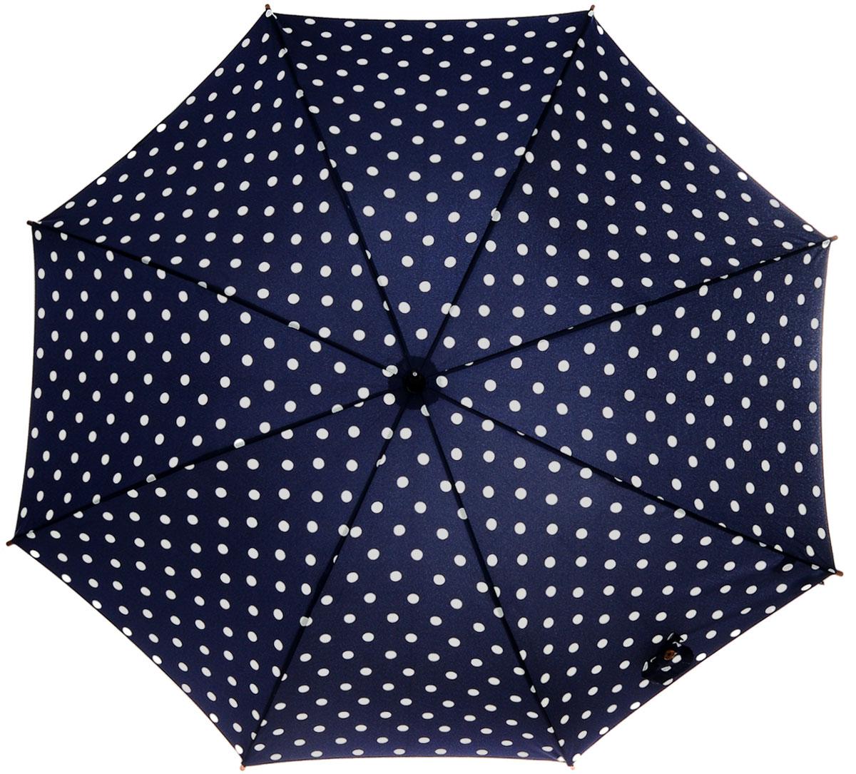 Зонт-трость женский Spot Navy, механический, цвет: синий, белыйL541 3F2654Стильный механический зонт-трость Spot Navy даже в ненастную погоду позволит вам оставаться элегантной. Облегченный каркас зонта выполнен из 8 спиц из фибергласса, стержень изготовлен из дерева. Купол зонта выполнен из прочного полиэстера и оформлен принтом в горошек. Рукоятка закругленной формы разработана с учетом требований эргономики и выполнена из дерева. Зонт имеет механический тип сложения: купол открывается и закрывается вручную до характерного щелчка. Такой зонт не только надежно защитит вас от дождя, но и станет стильным аксессуаром. Характеристики: Материал: полиэстер, фибергласс, дерево. Диаметр купола: 100 см. Цвет: синий, белый. Длина стержня зонта: 76 см. Длина зонта (в сложенном виде): 88 см. Вес: 375 г. Артикул: L541 3F2654.