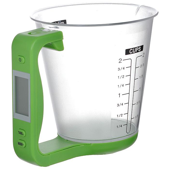 Весы-чашка электронные Bradex Абсолют, цвет: зеленыйTK 0016Электронные весы Bradex Абсолют выполнены из прочного пластика в виде мерного стаканчика. На стенки весов нанесены шкалы измерения в миллилитрах, унциях и чашках. Электронный дисплей расположен на ручке чашки. Также на ручке расположена кнопка включения/выключения, и кнопки управления TARE и MODE. Весы необходимы на любой кухне, когда для приготовления блюд обязательно требуется придерживаться четких пропорций, указанных в рецепте. Bradex Абсолют производит точное взвешивание 5 типов продуктов и ингредиентов (вода, молоко, мука, сахар, масло), измеряя массу непосредственно самого продукта без учета тары. Также вы сможете взвесить сразу несколько ингредиентов, притом получая измерения каждого продукта в отдельности. Одна из дополнительных функций весов-чашки - это измерение температуры взвешиваемого продукта (конвертирование в градусы по шкале Цельсия и Фаренгейта). Другое удобство заключено том, что чашка отсоединяется от измеряющей платформы с ручкой,...