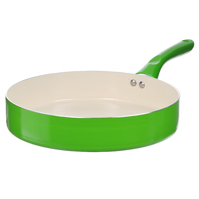 Сковорода Mayer & Boch, с керамическим покрытием, цвет: салатовый. Диаметр 26 см22262Сковорода Mayer & Boch изготовлена из алюминия с высококачественным антипригарным керамическим покрытием. Керамика не содержит вредных примесей ПФОК, что способствует здоровому и экологичному приготовлению пищи. Кроме того, с таким покрытием пища не пригорает и не прилипает к стенкам, поэтому можно готовить с минимальным добавлением масла и жиров. Гладкая, идеально ровная поверхность сковороды легко чистится, ее можно мыть в воде руками или вытирать полотенцем. Внешнее жаростойкое покрытие - салатового цвета. Эргономичная ручка специального дизайна выполнена из бакелита салатового цвета, удобна в эксплуатации. Сковорода подходит для использования на газовых и электрических плитах. Также изделие можно мыть в посудомоечной машине. Характеристики: Материал: алюминий, бакелит. Цвет: салатовый. Диаметр: 26 см. Высота стенки: 6 см. Толщина стенки: 0,23 см. Толщина дна: 0,3 см. Длина ручки: 18,5 см. Диаметр дна: 23 см. Артикул:...