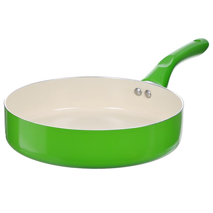Сковорода Mayer & Boch, с керамическим покрытием, цвет: салатовый. Диаметр 28 см22263 салатовыйСковорода Mayer & Boch изготовлена из алюминия с высококачественным антипригарным керамическим покрытием. Керамика не содержит вредных примесей ПФОК, что способствует здоровому и экологичному приготовлению пищи. Кроме того, с таким покрытием пища не пригорает и не прилипает к стенкам, поэтому можно готовить с минимальным добавлением масла и жиров. Гладкая, идеально ровная поверхность сковороды легко чистится, ее можно мыть в воде руками или вытирать полотенцем. Внешнее жаростойкое покрытие - салатового цвета. Эргономичная ручка специального дизайна выполнена из бакелита салатового цвета, удобна в эксплуатации. Сковорода подходит для использования на газовых и электрических плитах. Также изделие можно мыть в посудомоечной машине.
