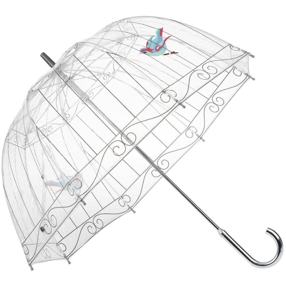 Зонт-трость женский Bird cage, механический, цвет: прозрачныйL719 3S1934Стильный куполообразный зонт-трость Bird cage, закрывающий голову и плечи, даже в ненастную погоду позволит вам оставаться элегантной. Каркас зонта выполнен из 8 спиц из фибергласса, стержень изготовлен из стали. Купол зонта выполнен из прозрачного ПВХ и оформлен изображением клетки с птицами. Рукоятка закругленной формы разработана с учетом требований эргономики и изготовлена из металла. Зонт имеет механический тип сложения: купол открывается и закрывается вручную до характерного щелчка. Такой зонт не только надежно защитит вас от дождя, но и станет стильным аксессуаром.