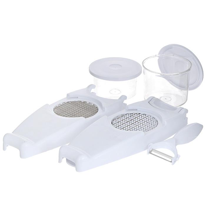 Овощерезка Bradex Винегрет, цвет: белыйTD 0001Овощерезка Bradex Винегрет состоит из двух прозрачных контейнеров с крышками, двух секций с ножом для крупных и мелких кубиков, платформы-базы с решеткой. В комплект также входит нож для чистки кожицы овощей. Предметы набора выполнены из прочного пластика, лезвия - из высококачественной нержавеющей стали. Овощерезка очень проста в использовании: установите лезвия, поместите овощ на середину платформы плоской стороной вниз и обеими руками надавите сверху на поверхность овощерезки. Овощерезка создана для того, чтобы покрошить мягкий сыр, репчатый лук, зелень, вареные яйца, сочные фрукты, вареные овощи и т.д. При этом ваши пальцы не будут касаться решетки при нарезании, что делает процесс безопасным, а наличие контейнера сохранит порядок на кухне, не допуская рассыпания продуктов. Прилагаемые крышки и контейнер могут использоваться для хранения нарезанных продуктов, чтобы сохранялась их свежесть. Овощерезка ровными ломтиками и кусочками нарежет все ингредиенты, необходимые...