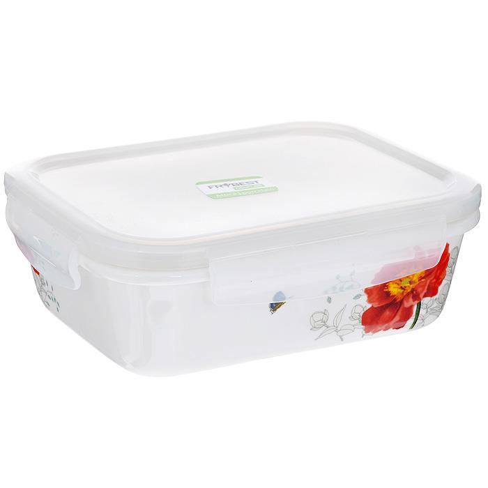 Контейнер для продуктов Frybest фарфоровый, прямоугольный, 630 млMAK-063Прямоугольный контейнер для продуктов Frybest выполнен из высококачественного фарфора белого цвета и украшен цветочным рисунком. Контейнер оснащен удобной крышкой из прозрачного пластика, которая плотно закрывается на 4 защелки. Основные преимущества: - экологичность (не содержит вредных и ядовитых материалов); - герметичность (превосходная герметичность позволяет сохранить свежесть продуктов); - чистота и гигиеничность (цвет материала не блекнет со временем, покрытие не впитывает запах); - утонченный европейский дизайн (прекрасное украшение стола); - удобство использования (подходит для мытья в посудомоечной машине, хранения в холодильной и морозильной камере). Характеристики: Материал: пластик, фарфор. Объем: 630 мл. Размер контейнера: 12,5 см х 16,5 см. Высота (без учета крышки): 5 см. Высота (с учетом крышки): 6 см. Размер упаковки: 19,5 см х 14,5 см х 6,5 см. Артикул: MAK-063.