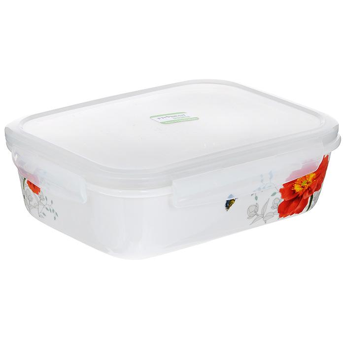 Контейнер для продуктов Frybest фарфоровый, прямоугольный, 920 млMAK-092Прямоугольный контейнер для продуктов Frybest выполнен из высококачественного фарфора белого цвета и украшен цветочным рисунком. Контейнер оснащен удобной крышкой из прозрачного пластика, которая плотно закрывается на 4 защелки. Основные преимущества: - экологичность (не содержит вредных и ядовитых материалов); - герметичность (превосходная герметичность позволяет сохранить свежесть продуктов); - чистота и гигиеничность (цвет материала не блекнет со временем, покрытие не впитывает запах); - утонченный европейский дизайн (прекрасное украшение стола); - удобство использования (подходит для мытья в посудомоечной машине, хранения в холодильной и морозильной камере).