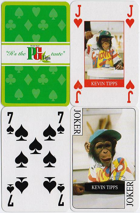 Игральные карты PG Tips. Колода 52 карты и 2 джокера. Китай, 1990-е гг.GI1295-00ALКарты игральные PG Tips. Колода: 52 карты и 2 джокера. Китай, 1990-е гг. Размер: 8,5 х 5,5 см. Оригинальная упаковка. Сохранность очень хорошая, карты новые не были в использовании.