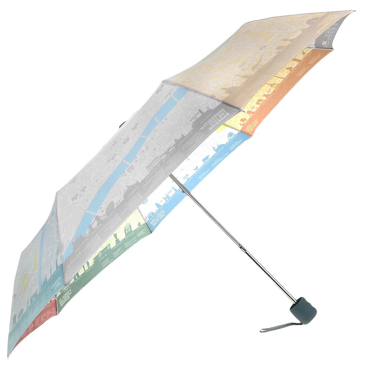 """Зонт женский Fulton London Map, механический, 3 сложения, цвет: белыйL761 3S2396Стильный складной зонт Fulton """"London Map"""" даже в ненастную погоду позволит вам оставаться женственной и элегантной. """"Ветростойкий"""" стальной каркас зонта в 3 сложения состоит из восьми металлических спиц, стержень изготовлен из стали. Зонт оснащен удобной рукояткой из прорезиненного пластика. Купол зонта выполнен из прочного полиэстера белого цвета и с внутренней стороны оформлен изображением карты Лондона. На рукоятке для удобства есть небольшой шнурок, позволяющий надеть зонт на руку тогда, когда это будет необходимо. К зонту прилагается чехол. Зонт механического сложения: купол открывается и закрывается вручную, стержень также складывается вручную до характерного щелчка."""