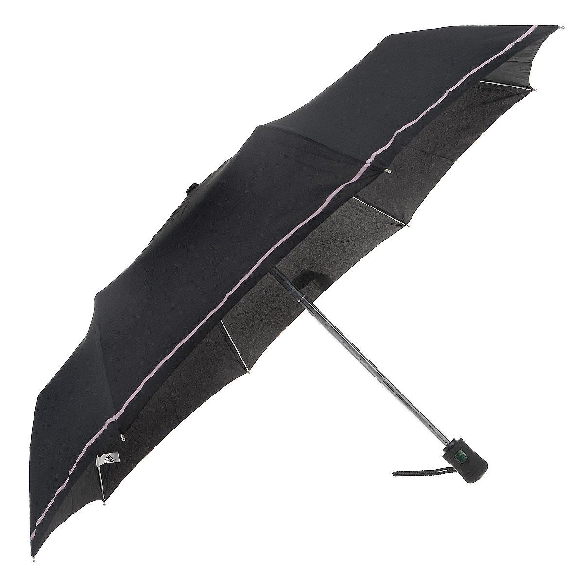 """Зонт женский Fulton WetnWild, автомат, 3 сложения, цвет: черныйJ346 0F2120Стильный зонт Fulton """"WetnWild"""" даже в ненастную погоду позволит вам оставаться женственной и элегантной. """"Ветростойкий"""" каркас зонта в 3 сложения состоит из восьми алюминиевых спиц с элементами из фибергласса, стержень выполнен из стали. Зонт оснащен удобной рукояткой из прорезиненного пластика. Купол зонта выполнен из прочного полиэстера черного цвета и оформлен принтом. На рукоятке для удобства есть небольшой шнурок, позволяющий надеть зонт на руку тогда, когда это будет необходимо. К зонту прилагается чехол. Зонт автоматического сложения: купол открывается и закрывается нажатием на кнопку, стержень складывается вручную до характерного щелчка."""