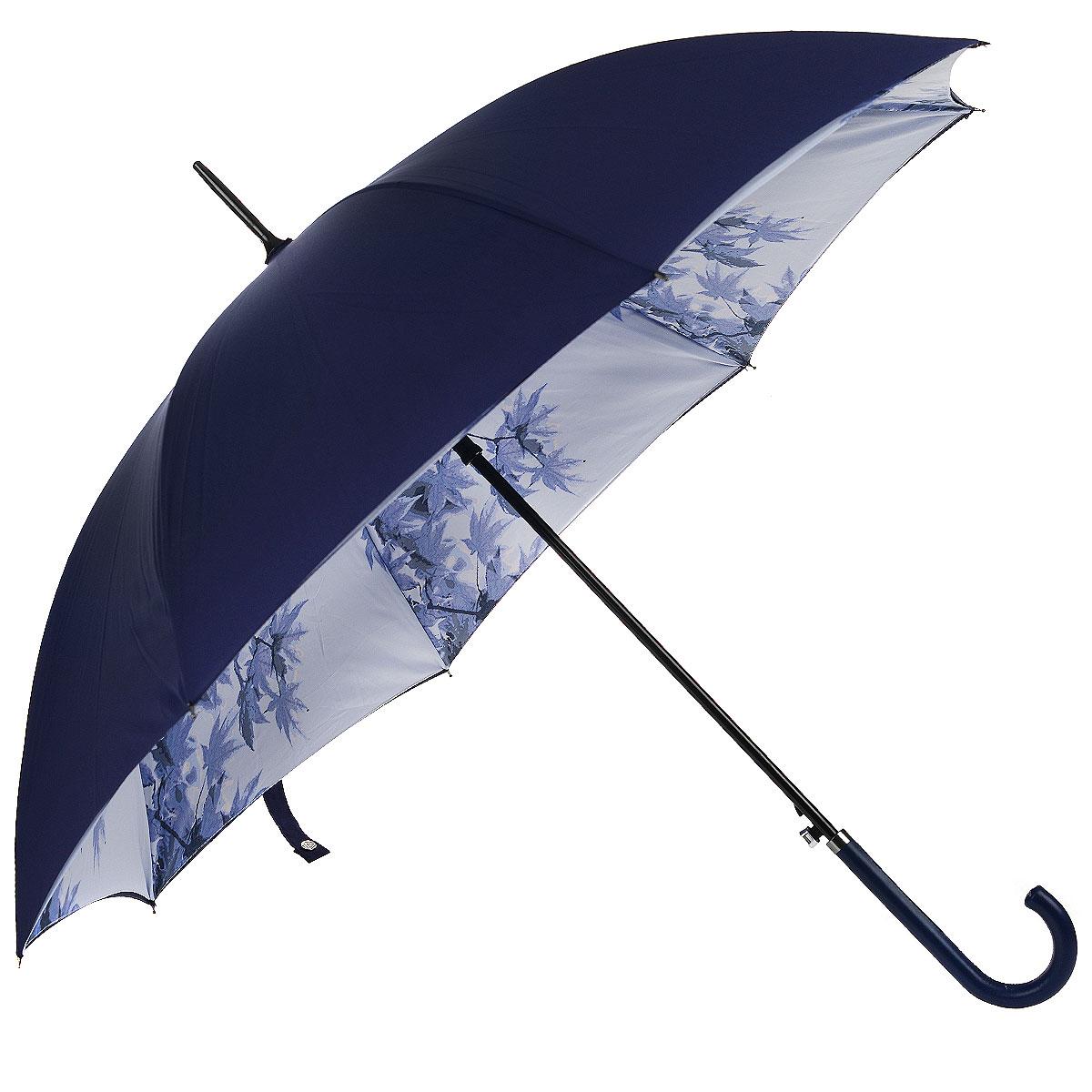 Зонт-трость женский Falling Leafs, полуавтомат, цвет: синий. L754 3F2637L754 3F2637Стильный полуавтоматический зонт-трость Falling Leafs даже в ненастную погоду позволит вам оставаться элегантной. Утонченный каркас зонта выполнен из 8 спиц из фибергласса, стержень изготовлен из алюминия. Купол зонта выполнен из прочного полиэстера синего цвета с внешней стороны и оформлен принтом в виде листьев - на внутренней. Рукоятка закругленной формы разработана с учетом требований эргономики и обтянута искусственной кожей. Зонт имеет полуавтоматический механизм сложения: купол открывается нажатием кнопки на рукоятке, а закрывается вручную до характерного щелчка. Такой зонт не только надежно защитит вас от дождя, но и станет стильным аксессуаром.