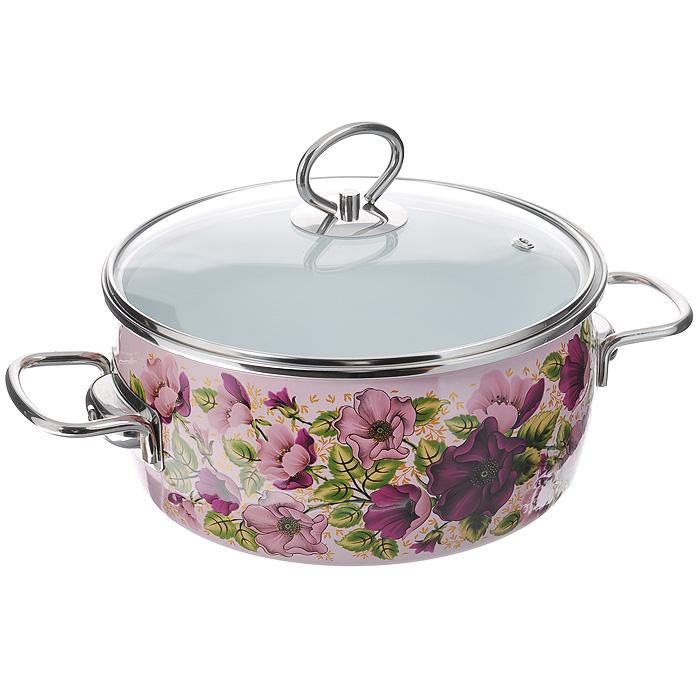 Кастрюля эмалированная Vitross Violeta с крышкой, цвет: розовый, 3 л8SA205S Violeta розоваяЭмалированная кастрюля Vitross Violeta выполнена из нержавеющей стали со стеклокерамическим покрытием - наиболее безопасным видом покрытий посуды. Стеклокерамика инертна и устойчива к пищевым кислотам, не вступает во взаимодействие с продуктами и не искажает их вкусовые качества. Прочный стальной корпус обеспечивает эффективную тепловую обработку и не деформируется в процессе эксплуатации. Такая кастрюля идеальна для тепловой обработки и хранения пищевых продуктов, приготовления холодных блюд и сервировки стола. Внутренняя поверхность изделия - белого цвета. Внешняя поверхность розового цвета оформлена красочными цветочными узорами. Кастрюля оснащена стеклянной крышкой с металлическим ободом и пароотводом, а также удобными стальными ручками. Подходит для всех типов плит, включая индукционные. Пригодна для посудомоечной машины. Характеристики: Материал: нержавеющая сталь, стекло, эмаль. Цвет: розовый. Объем кастрюли: 3 л. Внутренний диаметр...