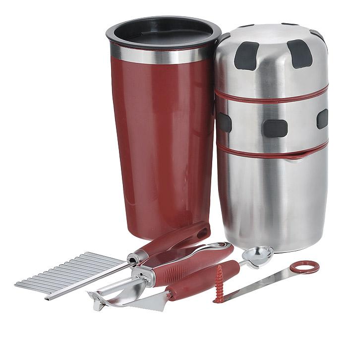 Соковыжималка ручная Bradex РадугаTD 0058Набор Bradex Радуга включает в себя: ручную соковыжималку, шейкер, нож с зубчатым лезвием, нож для вырезания шариков, нож спиральный, нож для очистки кожуры с ножом для нарезки углублений и инструкцию на русском языке. Предметы набора выполнены из высококачественной нержавеющей стали и пластика. С соковыжималкой Bradex Радуга вы приготовите свежевыжатые соки практически из всех фруктов, овощей, плодов и ягод. Вам не понадобится даже удалять из ягод и плодов косточки - все зернышки и кожица останутся в крышке соковыжималки, а сок соберется в специальной емкости. В комплект к соковыжималке вы получаете шейкер с крышкой для питья и набор для декорирования коктейлей и блюд. Одним из плюсов ручной соковыжималки является то, что она работает не от батареек или электросети, поэтому позволяет готовить вкусные коктейли даже в условиях отдыха на природе. Размер соковыжималки: 9,5 см х 9,5 см х 18,5 см. Размер шейкера: 10 см х 10 см х 18 см. Размер ножа...