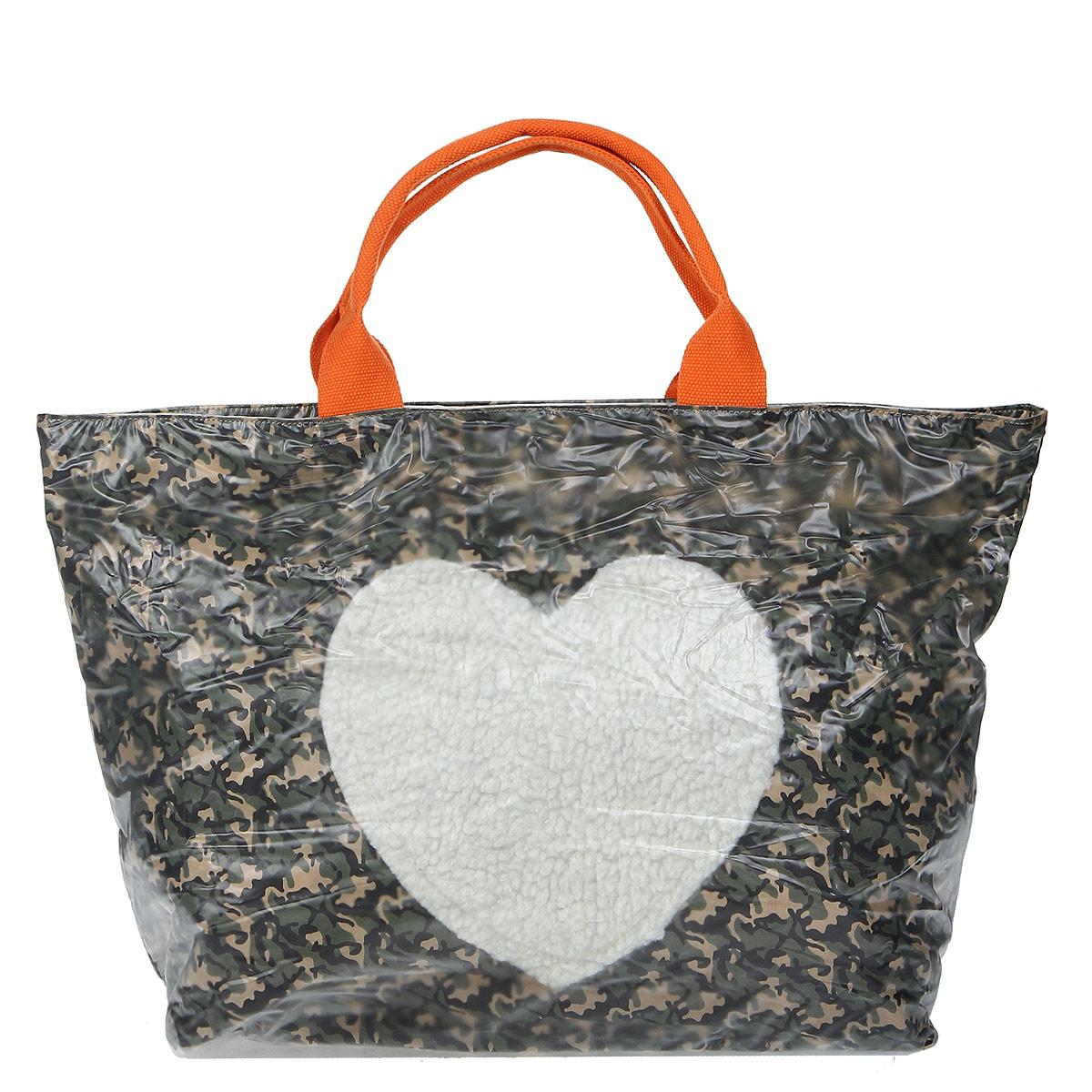 Сумка женская Fancy Bag, цвет: зеленый. 12-R35767-6512-R35767-65 зелёныйСтильная сумка Fancy Bag нижняя подкладка выполнена из текстиля зеленого цвета, а верхний слой выполнен из прозрачного ПВХ. Сумка имеет одно вместительное отделение, закрывающееся на застежку-молнию. Внутри - вшитый карман на застежке-молнии и два накладных кармана для мобильного телефона и прочих мелочей. На задней стенке сумки расположен дополнительный вшитый карман на застежке-молнии. Сумка оснащена двумя ручками. В комплекте чехол для хранения. Этот стильный аксессуар станет великолепным дополнением вашего образа.