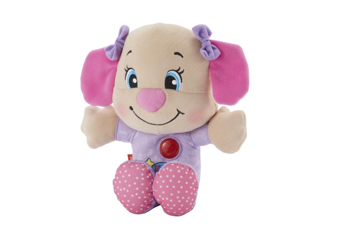 Fisher Price Смейся и учись Мягкая игрушка-ночник Ученый щенок, цвет: розовыйBMC63/BMC65Мягкая игрушка-ночник Fisher-Price Ученый щенок прекрасно дополнит интерьер детской комнаты. Игрушка выполнена из приятного на ощупь материала в виде симпатичного щенка-девочки в сиреневой пижамке. Ребенок может прижаться и обнять эту славную игрушку, узнавая о цветах, цифрах, формах и многом другом! Когда малыш готов ко сну, он может нажать на кнопку в виде сердца, чтобы услышать успокаивающую колыбельную (10 минут проигрывания) и увидеть мягкий свет (3 минуты свечения). На животике щенка расположена кнопка, при нажатии на которую малыш услышит веселые фразы или обучающие фразы. На груди щенка имеется кнопка с рельефным изображением сердечка. Если на нее нажать, то она будет светиться мягким светом, и игрушка будет воспроизводить приятные мелодии. Игрушка-ночник Ученый щенок не только будет охранять вашего ребенка во время сна, но еще станет его любимой игрушкой. Характеристики: Материал: текстиль, пластик. Рекомендуемый возраст: от 6 до 36...