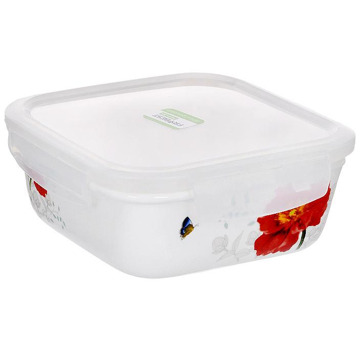 Контейнер для продуктов Frybest фарфоровый, квадратный, 680 млMAK-068Квадратный контейнер для продуктов Frybest выполнен из высококачественного фарфора белого цвета и украшен цветочным рисунком. Контейнер оснащен удобной крышкой из прозрачного пластика, которая плотно закрывается на 4 защелки. Основные преимущества: - экологичность (не содержит вредных и ядовитых материалов); - герметичность (превосходная герметичность позволяет сохранить свежесть продуктов); - чистота и гигиеничность (цвет материала не блекнет со временем, покрытие не впитывает запах); - утонченный европейский дизайн (прекрасное украшение стола); - удобство использования (подходит для мытья в посудомоечной машине, хранения в холодильной и морозильной камере).
