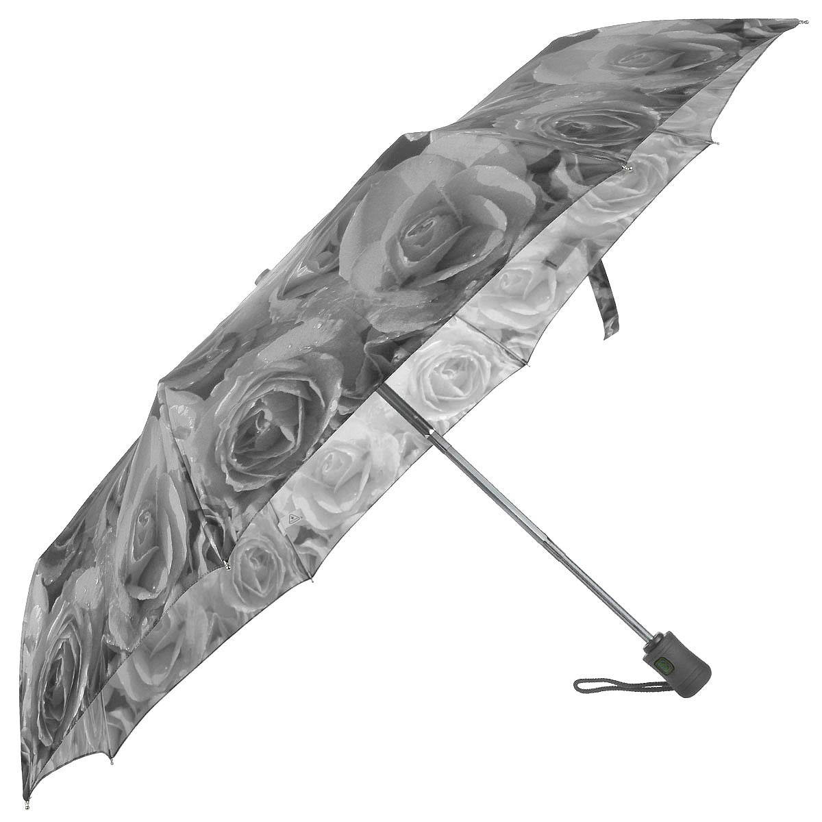 """Зонт женский Fulton White Roses, автомат, 3 сложения, цвет: серыйR346 3S2303Стильный зонт Fulton """"White Roses"""" даже в ненастную погоду позволит вам оставаться женственной и элегантной. """"Ветростойкий"""" каркас зонта в 3 сложения состоит из восьми алюминиевых спиц с элементами из фибергласса, стержень выполнен из стали. Зонт оснащен удобной рукояткой из прорезиненного пластика. Купол зонта выполнен из прочного полиэстера и оформлен фотопринтом с изображением белых роз. На рукоятке для удобства есть небольшой шнурок, позволяющий надеть зонт на руку тогда, когда это будет необходимо. К зонту прилагается чехол. Зонт автоматического сложения: купол открывается и закрывается нажатием на кнопку, стержень складывается вручную до характерного щелчка."""