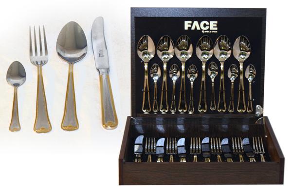 Набор столовых приборов 24 предмета на 6 персон Falperra Gold в деревянной коробке.F-FG/24-ALМатериал: Нержавеющая сталь. Цвет: серебряный, золотой. Серия: Falperra Gold.