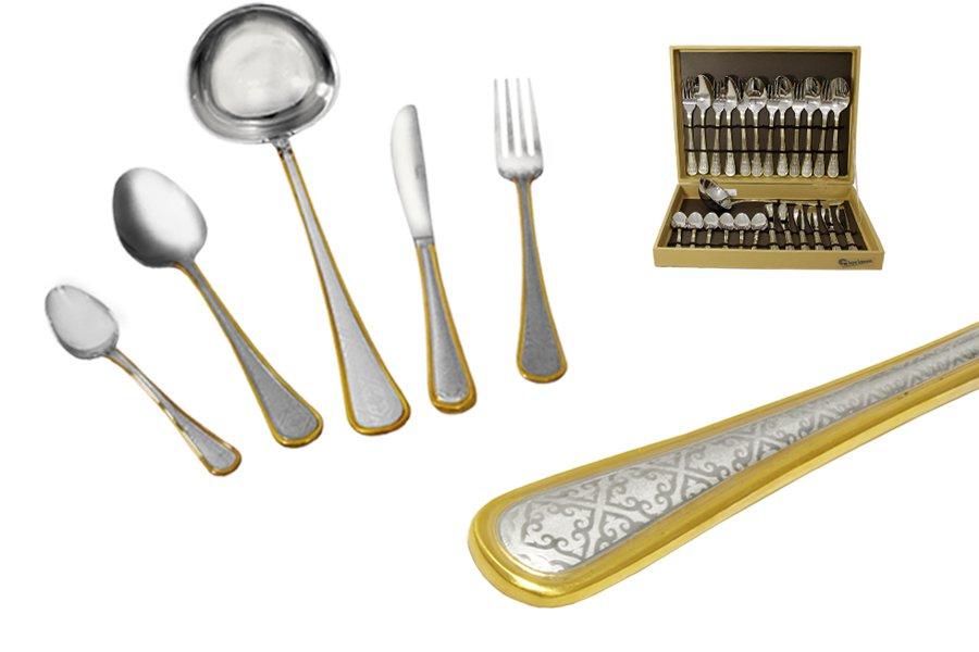 Набор столовых приборов из 25 предметов ArabescoGI7903-26-ALМатериал: Нержавеющая сталь. Цвет: серебряный, золотой. Серия: Arabesco. Размер товара: 6 вилок, 6 столовых ложек, 6 ножей, 6 чайных ложек, 1 половник. Размер упаковки: 37х29х8.
