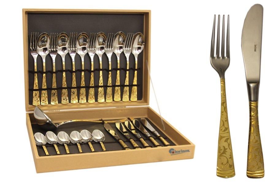 Набор столовых приборов из 51 предмета Dubai OroGI6650-51-ALМатериал: Нержавеющая сталь. Цвет: серебряный, золотой. Серия: Dubai. Размер товара: 12 вилок, 12 столовых ложек, 12 ножей, 12 чайных ложек, 1 половник, 1 ложка для раскладки, 1 большая вилка. Размер упаковки: 60х35х8.