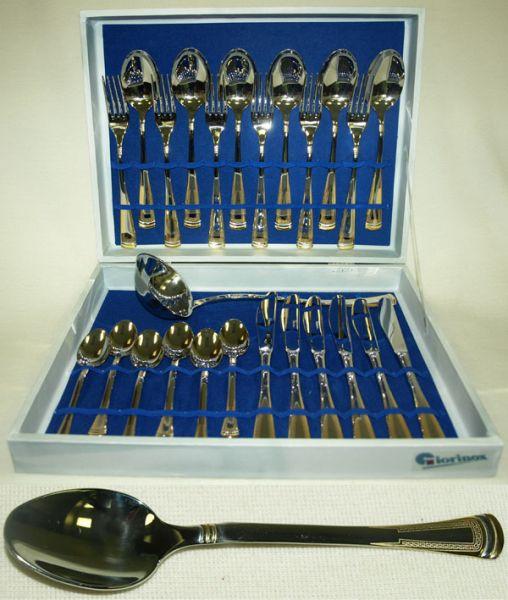 Набор столовых приборов из 25 предметов ЭраGI5800-25RR-ALМатериал: Нержавеющая сталь. Цвет: серебряный, золотой. Серия: Эра.