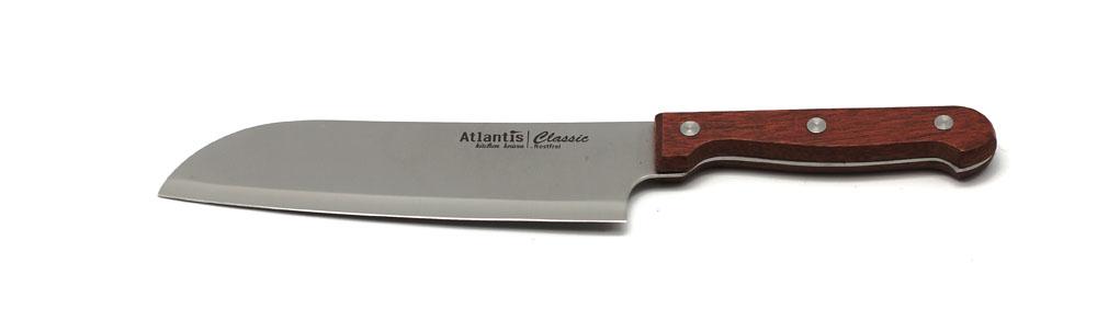 Нож Atlantis Classic 24704-SK24704-SKНож Atlantis Classic изготовлен из нержавеющей стали. Нож с удобной эргономичной деревянной ручкой, с особой формой режущей кромки и специальной заточкой лезвия будет отличным помощником на Вашей кухне.