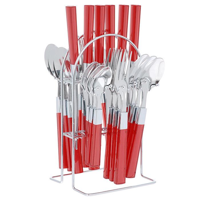 Набор столовых приборов Mayer&Boch, цвет: красный, 25 предметов. 20686-120686-1 красныйНабор столовых приборов Mayer & Boch выполнен из прочной полированной нержавеющей стали и высококачественного пластика. В набор входят 6 столовых ложек, 6 вилок, 6 чайных ложек и 6 ножей. Приборы имеют оригинальные удобные ручки с пластиковыми вставками красного цвета. Прекрасное сочетание яркого дизайна и удобства использования предметов набора придется по душе каждому. Изделия расположены на металлической подставке, что удобно для хранения набора прямо на столе или столешнице. Набор столовых приборов Mayer & Boch подойдет как для ежедневного использования, так и для торжественных случаев. Характеристики: Материал: нержавеющая сталь, пластик. Цвет: красный. Длина ножа: 22,5 см. Длина столовой ложки: 20 см. Длина вилки: 21 см. Длина чайной ложки: 16 см. Размер подставки (ДхШхВ): 12,5 см x 12 см x 23 см. Размер упаковки: 15 см x 13,5 см x 28 см. Артикул: 20686-1 .