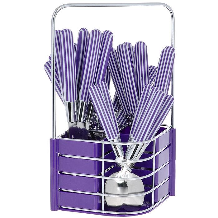 Набор столовых приборов Mayer & Boch, цвет: фиолетовый, 25 предметов. MN23240MN23240 фиолетовыйНабор столовых приборов Mayer & Boch выполнен из прочной нержавеющей стали. В набор входит 25 предметов: 6 обеденных ножей, 6 обеденных ложек, 6 обеденных вилок и 6 чайных ложек и подставка. Приборы имеют оригинальные удобные ручки с пластиковыми вставками в фиолетово-белую полоску. Прекрасное сочетание свежего дизайна и удобство использования предметов набора придется по душе каждому. Предметы набора расположены на подставке из стали и пластика с четырьмя секциями для каждого вида приборов. Подставка оснащена удобной ручкой для переноски. Набор столовых приборов Mayer & Boch подойдет для сервировки стола, как дома, так и на даче и всегда будет важной частью трапезы, а также станет замечательным подарком. Характеристики: Материал: нержавеющая сталь #410, пластик. Цвет: фиолетовый. Длина ножа: 22,5 см. Длина столовой ложки: 21 см. Длина вилки: 21 см. Длина чайной ложки: 16,5 см. Размер подставки (Д х Ш х В): 17,5 см x 13 см x 26 см.