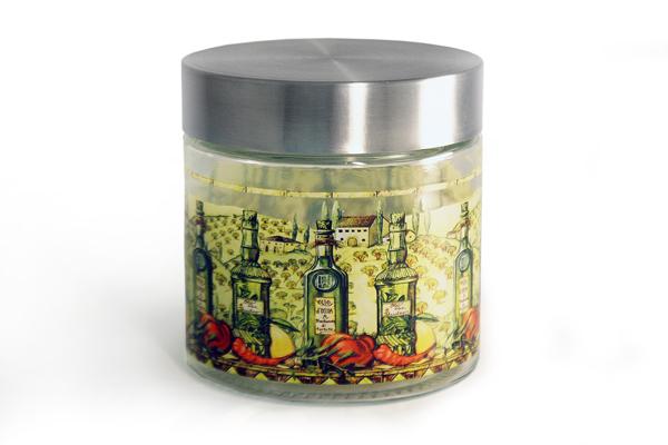 Банка для сыпучих продуктов SinoGlass Тоскана, 0,85 л. SI-920941403-ALSI-920941403-ALБанка Тоскана, выполненная из стекла, декорирована красочным изображением. В такой емкости очень удобно хранить разнообразные сыпучие продукты, такие как кофе, крупы, макароны или специи. Емкость плотно закрывается крышкой, выполненной из металла серебристого цвета. Оригинальный дизайн и функциональность сделают такую банку отличным дополнением к вашему кухонному инвентарю.