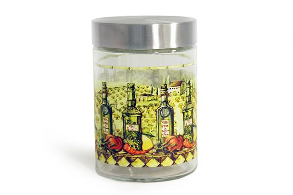 Банка для сыпучих продуктов SinoGlass Тоскана, 1,25 л. SI-920941303-ALSI-920941303-ALБанка Тоскана, выполненная из стекла, декорирована красочным изображением. В такой емкости очень удобно хранить разнообразные сыпучие продукты, такие как кофе, крупы, макароны или специи. Емкость плотно закрывается крышкой, выполненной из металла серебристого цвета. Оригинальный дизайн и функциональность сделают такую банку отличным дополнением к вашему кухонному инвентарю.