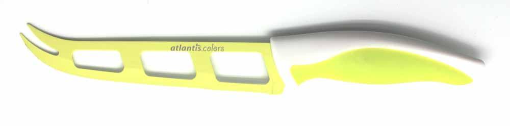 Нож для сыра Atlantis 13см L-5Z-GL-5Z-GНож для сыра Atlantis превосходно подходит для нарезки твердых и мягких сыров, также на конце лезвия имеется вилка - для сервировки сыра. Особенности ножа Atlantis: японская высокоуглеродистая нержавеющая сталь прочный и острый клинок эргономический дизайн ручки безопасное и прочное покрытие лезвия, не дающее пище прилипать к ножу красивое сочетание цветов ручки и лезвия.