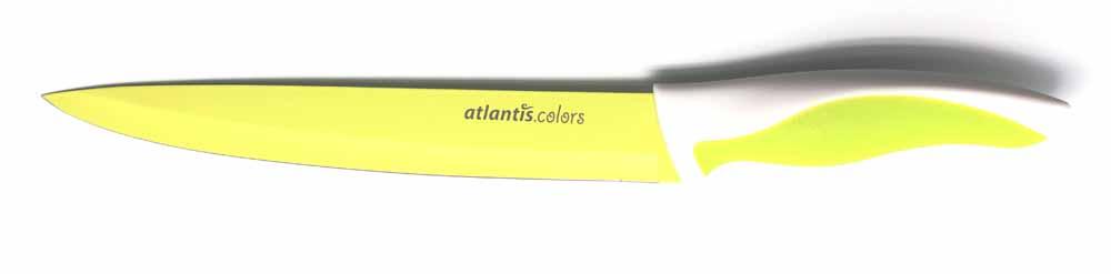 Нож для нарезки Atlantis 20см L-8S-GL-8S-GНож кухонный Atlantis высшего качества предназначен для профессионального и домашнего использования, для нарезки продуктов. Очень удобная и эргономичная ручка не позволит выскользнуть ножу из вашей руки. Особенности ножа Atlantis: японская высокоуглеродистая нержавеющая сталь прочный и острый клинок безопасное и прочное покрытие лезвия не дающее пище прилипать к ножу красивое сочетание цветов ручки и лезвия.