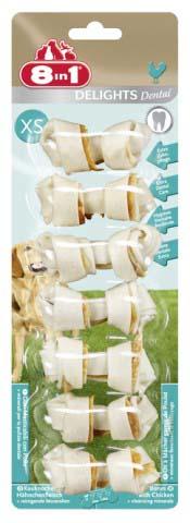 Лакомство 8 in 1 Dental Delights XS для собак мелких пород, косточки для чистки зубов, 7 шт, 84 г1025958 in 1 Dental Delights XS - уникальное запатентованное лакомство с качественным куриным мясом, завернутое в жесткую оболочку из сыромятной кожи. Полезно для зубов и десен. Удовлетворяет природный жевательный инстинкт собаки. Долгое жевательное удовольствие и никаких остатков. Изготавливается с учетом размеров собаки. Обогащено полезными минералами. Dental Delights XS помогают удалить зубной налет, предотвращая образование зубного камня и способствуя свежему дыханию. Содержит всего 2% жира. Не содержит искусственных красителей и усилителей вкуса и аромата. Состав: мясо и мясные субпродукты (куриное мясо 9%), минеральные вещества. Аналитические компоненты: сырой белок - 82%, сырые масла и жиры - 2%, сырая клетчатка - 1%, сырая зола - 2%, содержание влаги - 14%. Вес: 84 г. Средний размер косточки: 2,5 см х 6 см. Комплектация: 7 шт. Товар сертифицирован.