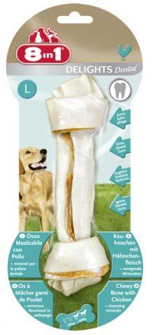 Лакомство 8 in 1 Dental Delights L для собак крупных пород, косточка для чистки зубов, 100 г1026878 in 1 Dental Delights L - уникальное запатентованное лакомство с качественным куриным мясом, завернутое в жесткую оболочку из сыромятной кожи. Полезно для зубов и десен. Удовлетворяет природный жевательный инстинкт собаки. Долгое жевательное удовольствие и никаких остатков. Изготавливается с учетом размеров собаки. Обогащено полезными минералами. Dental Delights M помогает удалить зубной налет, предотвращая образование зубного камня и способствуя свежему дыханию. Содержит всего 2% жира. Не содержит искусственных красителей и усилителей вкуса и аромата. Состав: мясо и мясные субпродукты (куриное мясо 10%), минеральные вещества. Аналитические компоненты: сырой белок - 82%, сырые масла и жиры - 2%, сырая клетчатка - 1%, сырая зола - 2%, содержание влаги - 14%. Вес: 100 г. Размер косточки: 5 см х 20 см. Товар сертифицирован.