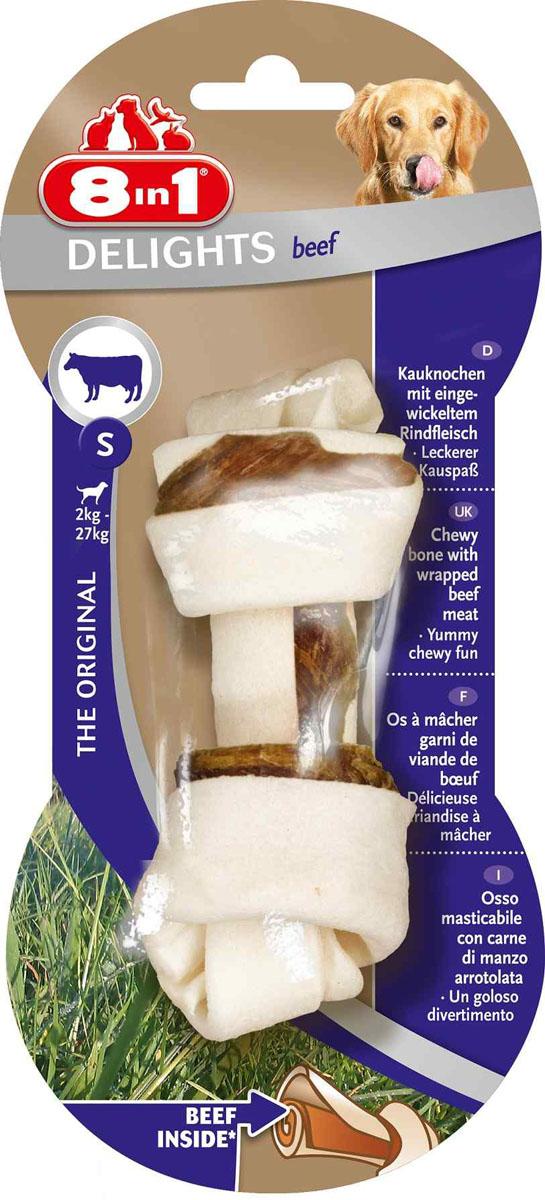 Лакомство 8 in 1 Delights Beef S для собак мелких и средних пород, косточка с говядиной, 35 г108764Лакомство 8 in 1 Delights Beef S представляет собой косточку, изготовленную из говяжьей кожи с прослойками говяжьего мяса. Косточка предназначена для ухода за зубами, уменьшения зубного налета, предотвращения образования зубного камня, а также для развлечения собаки в моменты, когда хозяина нет дома. Содержит всего 3,5% жира и не содержит искусственных красителей и усилителей вкуса. Состав: мясо и мясные субпродукты (говядина 10%), минеральные вещества. Аналитические компоненты: сырой белок - 82%, сырые масла и жиры - 3,5%, сырая клетчатка - 1%, сырая зола - 2%, содержание влаги - 14%. Вес: 35 г. Размер косточки: 5 см х 11 см. Товар сертифицирован.