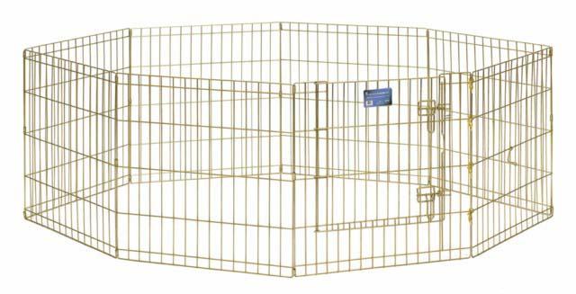 Вольер для животных Midwest, цвет: золотой, 61 см х 61 см540-24Комфортный вольер Midwest для животных с 8 панелями - это лучший выбор для тех, кто заботится об уюте и безопасности своего питомца. Дверь вольера оснащена крепким двойным замком, что исключает случайное открытие. В комплект также входят угловые усилители, которые поддерживают конфигурацию ограждения и добавляют конструкции вес, чтобы животное не могло ее перевернуть. Специальное акриловое покрытие Acri-Lock золотистым цинком, нанесенное на вольер, продляет срок эксплуатации клетки. Вольер легко переносится и просто складывается для удобного хранения, не требуется никаких инструментов или дополнительных деталей. Размер одной секции (ШхВ): 61 см х 61 см. Вес конструкции: 9,5 кг. Товар сертифицирован.