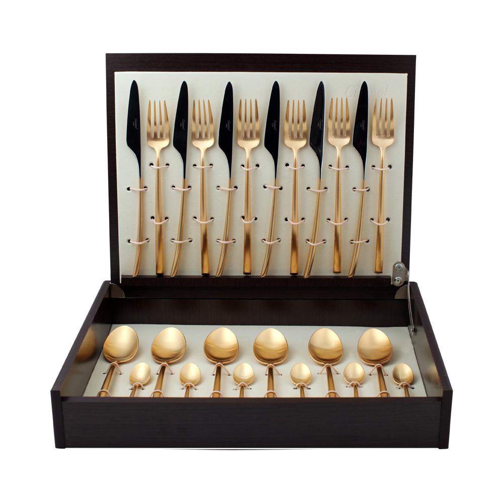Набор столовых приборов Mezzo Gold мат. набор 24 предмета 930293029302 MEZZO GOLD мат. Набор 24 пр. Характеристики: Материал: сталь. Размер: 405*295*65мм. Артикул: 9302.