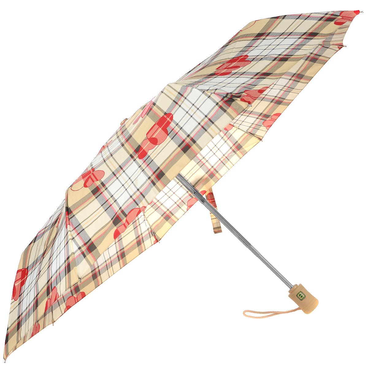 """Зонт женский Fulton Heart Check, автомат, 3 сложения, цвет: бежевыйJ346 1F2315Стильный зонт Fulton """"Heart Check"""" даже в ненастную погоду позволит вам оставаться женственной и элегантной. """"Ветростойкий"""" каркас зонта в 3 сложения состоит из восьми алюминиевых спиц с элементами из фибергласса, стержень выполнен из стали. Зонт оснащен удобной рукояткой из прорезиненного пластика. Купол зонта выполнен из прочного полиэстера и оформлен принтом в клетку. На рукоятке для удобства есть небольшой шнурок, позволяющий надеть зонт на руку тогда, когда это будет необходимо. К зонту прилагается чехол. Зонт автоматического сложения: купол открывается и закрывается нажатием на кнопку, стержень складывается вручную до характерного щелчка."""