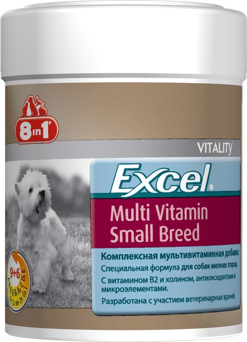 Добавка 8 in 1 Excel. Multi Vitamin, для собак мелких пород, 70 таблеток109372Мультивитаминная добавка для собак мелких пород 8 in 1 Excel. Multi Vitamin содержит витамины В2 и В 4 (холин), жир ценных пород рыб (источник жирных кислот Омега-3) и микроэлементы. Специальная формула обеспечивает идеальный баланс минеральных веществ и витаминов, необходимых для поддержания активного образа жизни собак мелких пород. Комплекс восполняет недостаток витаминов и минералов в питании животного. Он рекомендован собакам в зимние и весенние месяцы для профилактики авитаминоза. При несбалансированном питании (со стола или дешевыми кормами) необходимо давать препарат ежедневно для восстановления обмена веществ. Применение: Добавку давать собакам, весом менее 4 кг - по 0,5 таблетки в день, от 4 до 10 кг - по 1 таблетке в день (перед кормлением). Больным, выздоравливающим, беременным и кормящим собакам давать по 2 таблетки в день. Рекомендуемый курс применения 14-30 дней. Изменения дозировки или повторный курс по...