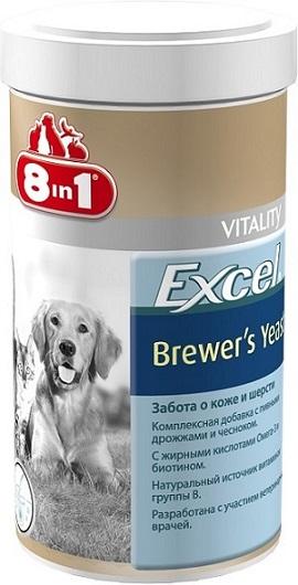 Добавка 8 in 1 Excel. Brewers Yeast, для кошек и собак, 780 таблеток1157178 in 1 Excel. Brewers Yeast - комплексная добавка, содержащая пивные дрожжи и чеснок, богата витаминами группы В, жиром ценных пород рыб (источник жирных кислот Омега-3). Специальный баланс витаминов и микроэлементов способствует поддержанию здоровой кожи и блестящей шерсти, стимуляции иммунной системы, улучшения аппетита, профилактики заболеваний печени у собак и кошек. Применение: Добавку давать собакам (кошкам) ежедневно по 1 таблетке на каждые 4 кг веса животного (перед едой или вместе с кормом). Рекомендуемый курс применения 14-30 дней. Изменения дозировки или повторный курс по показаниям. Состав: пивные дрожжи (Saccharomyces cerevisiae), стеариновая кислота, глицерин, чеснок, сафлоровое масло, диоксид кремния, масло тунца. Не содержит искусственных консервантов и красителей. Пищевая ценность: сырой белок - 43%, сырой жир - 7%, сырая клетчатка - 1%, зола - 9%, влага - 8%. Витамины: витамин В1 800 мг/кг, витамин В2 500...