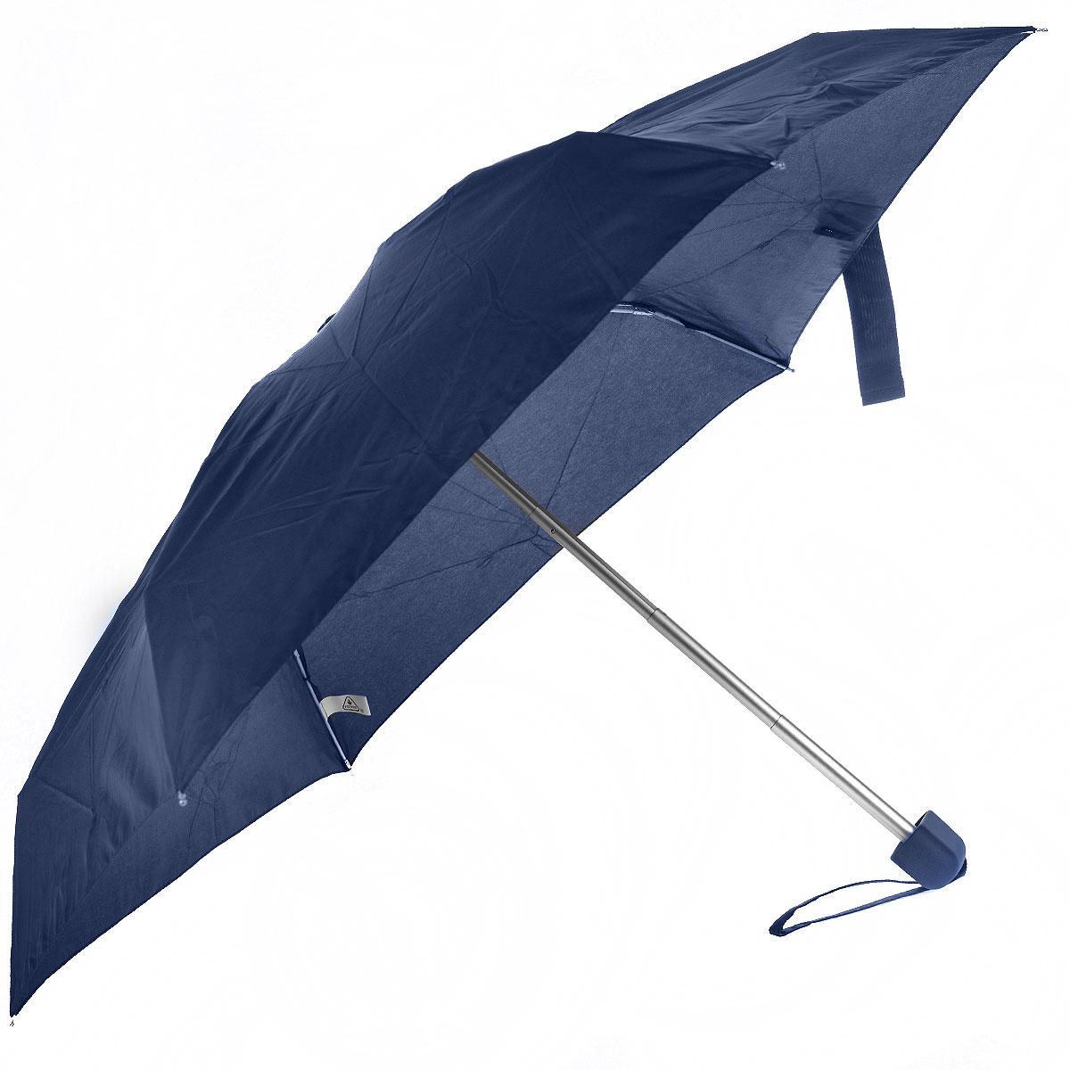"""Зонт Fulton, механический, 5 сложений, цвет: темно-синий. L500 3S033L500 3S033Стильный сверхкомпактный зонт """"Fulton"""" защитит от непогоды, а его компактный размер позволит вам всегда носить его с собой. """"Ветростойкий"""" плоский алюминиевый каркас зонта в 5 сложений состоит из шести спиц с элементами из фибергласса, зонт оснащен удобной рукояткой из прорезиненного пластика. Купол зонта выполнен из прочного полиэстера темно-синего цвета. На рукоятке для удобства есть небольшой шнурок, позволяющий надеть зонт на руку тогда, когда это будет необходимо. К зонту прилагается чехол. Зонт механического сложения: купол открывается и закрывается вручную, стержень также складывается вручную до характерного щелчка."""
