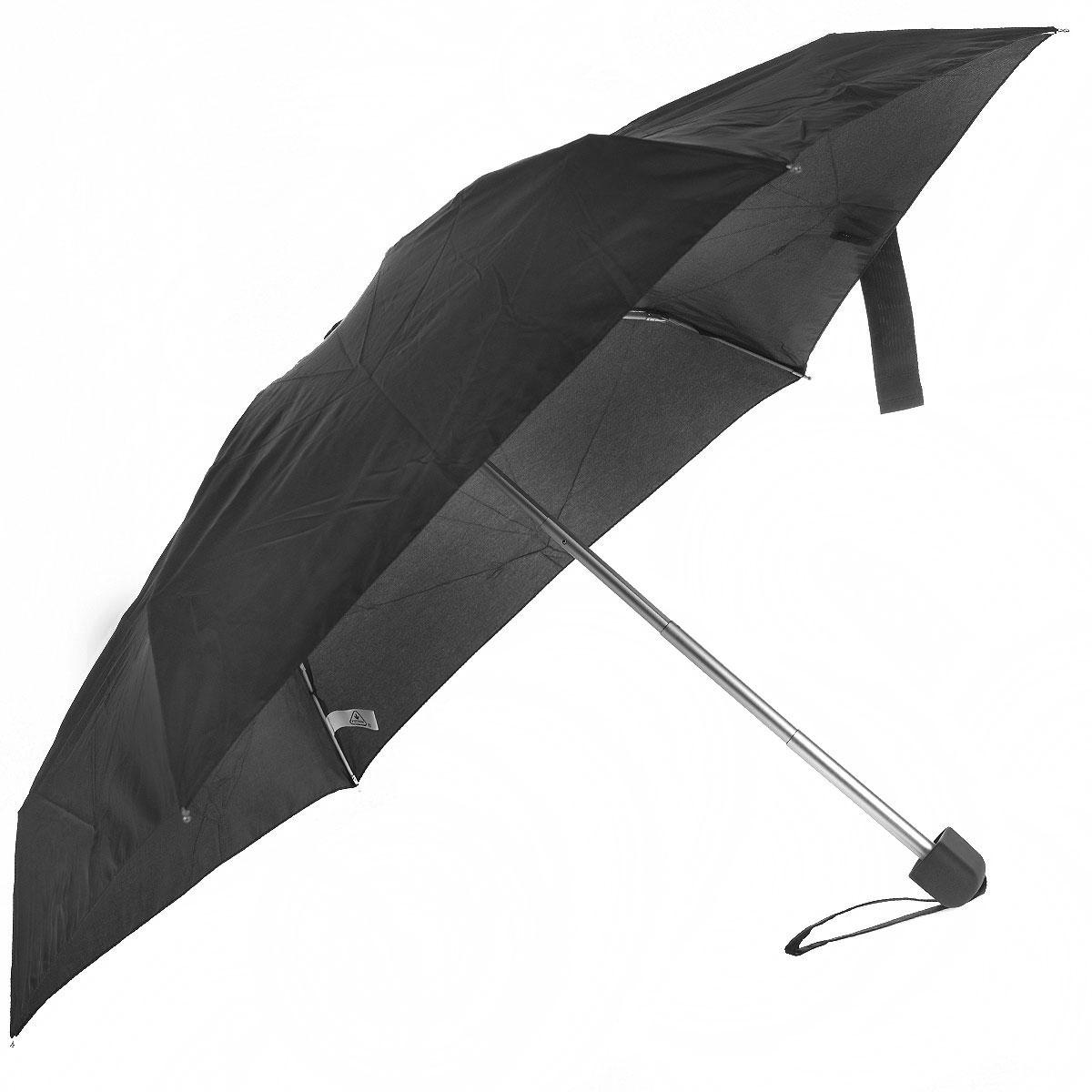 """Зонт женский Fulton, механический, 5 сложений, цвет: черныйL500 3F001Стильный сверхкомпактный зонт """"Fulton"""" защитит от непогоды, а его компактный размер позволит вам всегда носить его с собой. """"Ветростойкий"""" плоский алюминиевый каркас зонта в 5 сложений состоит из шести спиц с элементами из фибергласса, зонт оснащен удобной рукояткой из прорезиненного пластика. Купол зонта выполнен из прочного полиэстера черного цвета. На рукоятке для удобства есть небольшой шнурок, позволяющий надеть зонт на руку тогда, когда это будет необходимо. К зонту прилагается чехол. Зонт механического сложения: купол открывается и закрывается вручную, стержень также складывается вручную до характерного щелчка."""