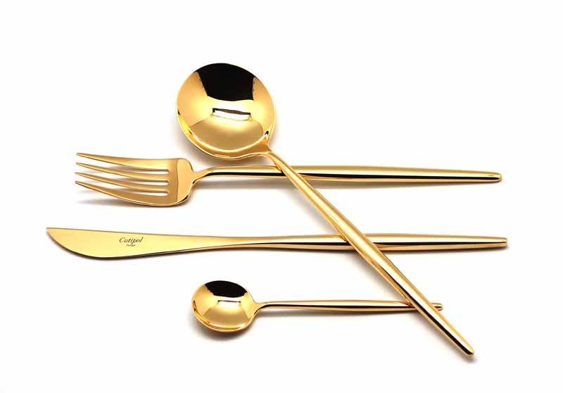 Набор столовых приборов Cutipol Moon Gold, 24 предмета92319231 MOON GOLD Набор 24 пр. Характеристики: Материал: сталь. Размер: 405*295*65мм. Артикул: 9231.