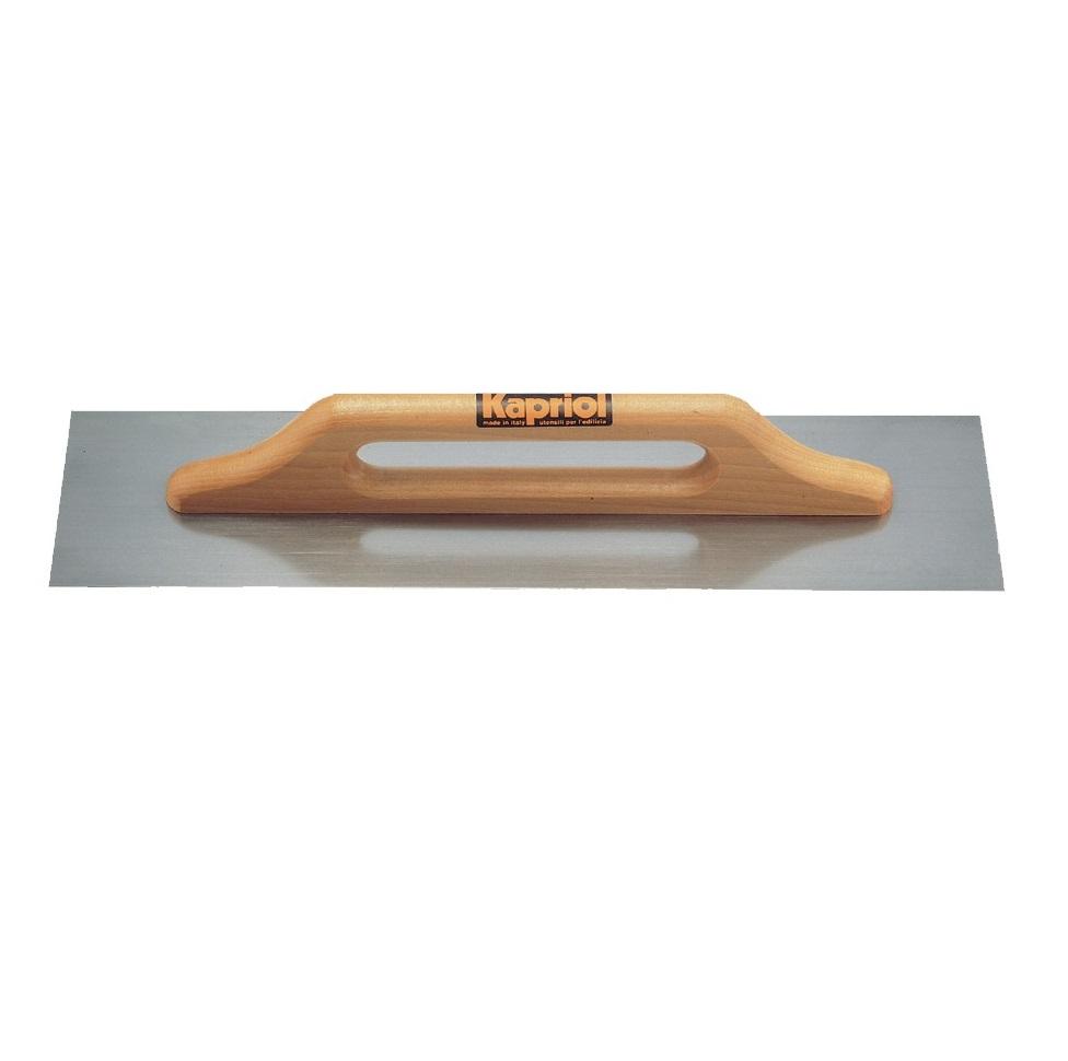 Гладилка Kapriol, с деревянной ручкой, 14 см х 50 см23040Гладилка плоская Kapriol с широкой деревянной ручкой для работы двумя руками используется в штукатурно-отделочных работах для равномерного распределения раствора на большую по площади поверхность. Особенности гладилки: Длинное полотно изготовлено из закаленной ламинированной стали; Ручка соединена с полотном с помощью специального клея и точечной сварки; Широкая деревянная ручка позволяет с удобством работать двумя руками.