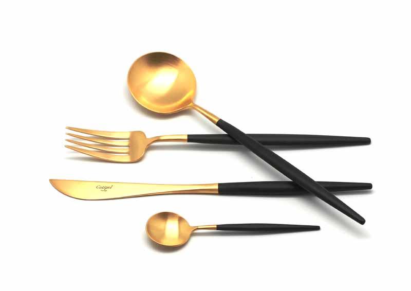Набор столовых приборов Cutipol Goa Gold, цвет: золотистый матовый, черный, 24 предмета92629262 GOA GOLD мат. 24 пр. Характеристики: Материал: сталь. Размер: 405*295*65мм. Артикул: 9262.