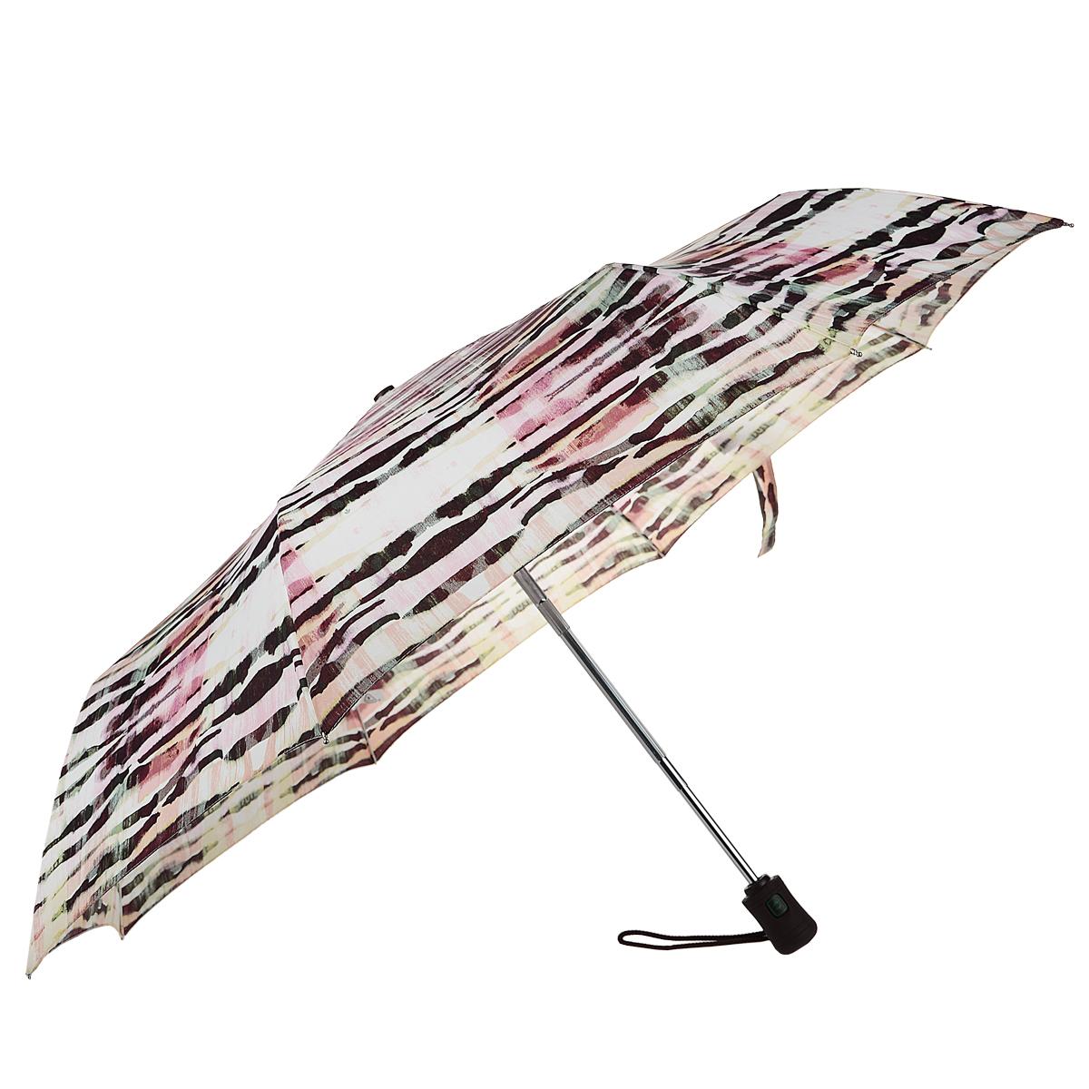 """Зонт женский Fulton Zebra Candy, автомат, 3 сложения, цвет: сиреневый, бордовыйJ346 3S2307Стильный зонт Fulton """"Zebra Candy"""" даже в ненастную погоду позволит вам оставаться женственной и элегантной. """"Ветростойкий"""" каркас зонта в 3 сложения состоит из восьми алюминиевых спиц с элементами из фибергласса, стержень выполнен из стали. Зонт оснащен удобной рукояткой из прорезиненного пластика. Купол зонта выполнен из прочного полиэстера и оформлен полосатым принтом. На рукоятке для удобства есть небольшой шнурок, позволяющий надеть зонт на руку тогда, когда это будет необходимо. К зонту прилагается чехол. Зонт автоматического сложения: купол открывается и закрывается нажатием на кнопку, стержень складывается вручную до характерного щелчка."""