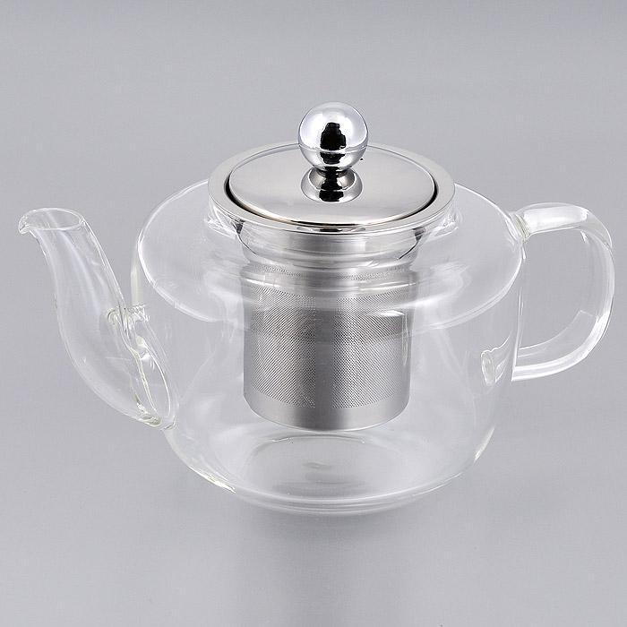 Чайник заварочный Mayer & Boch, 0,8 л. 2077120771Заварочный чайник Mayer & Boch изготовлен из термостойкого боросиликатного стекла - прочного износостойкого материала. Чайник оснащен металлическим фильтром и крышкой. Простой и удобный чайник поможет вам приготовить крепкий, ароматный чай. Дизайн изделия создает гипнотическую атмосферу через сочетание полупрозрачного цвета и хромированных элементов. Можно мыть в посудомоечной машине. Не использовать в микроволновой печи. Диаметр по верхнему краю: 8 см. Высота (без учета крышки): 10 см. Высота фильтра: 7,5 см.