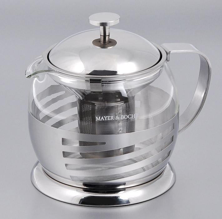 Чайник заварочный Mayer & Boch, 1 л. 2125821258Заварочный чайник Mayer & Boch изготовлен из термостойкого стекла и нержавеющей стали. Чайник оснащен металлическим фильтром, крышкой и ручкой. Чайник легок в использовании. Стеклянный корпус и съемный фильтр позволяет быстро и легко очистить чайник. Может быть использован для подачи как горячих, так и холодных напитков. Удобный, функциональный чайник поможет вам приготовить крепкий, ароматный чай. Изящный и современный стиль чайника прекрасно подчеркнет декор любой кухни. Можно мыть в посудомоечной машине. Не использовать в микроволновой печи. Диаметр по верхнему краю: 11 см. Высота (без учета крышки): 12 см. Высота фильтра: 7 см. Диаметр основания: 13,5 см.