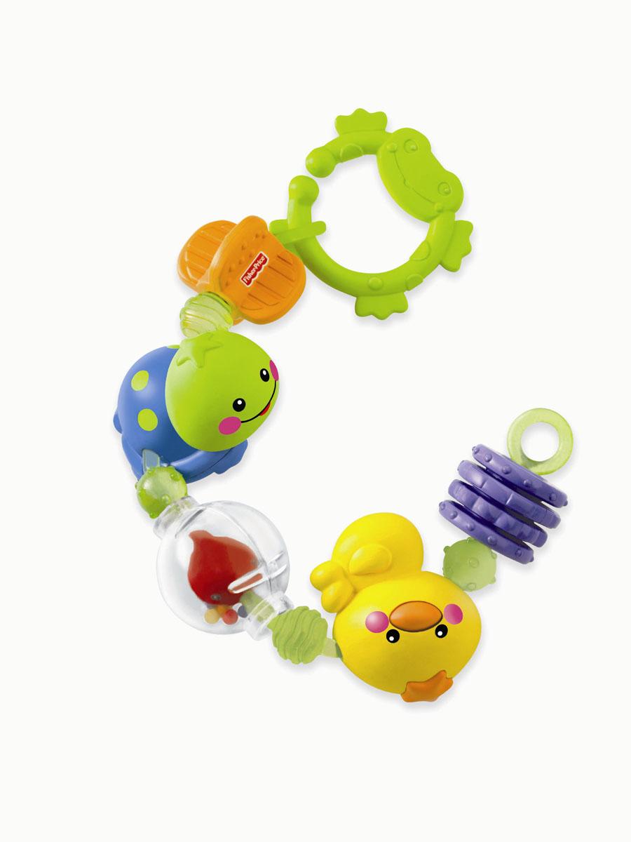 Fisher-Price Newborn Игрушка-подвеска Крутящиеся животныеN2862Яркая игрушка-подвеска Fisher-Price Крутящиеся животные понравится вашему ребенку и не позволит ему скучать. Она выполнена из прочного безопасного пластика в виде различных элементов, соединенных между собой в цепочку. Вращающиеся колечки с рельефными краями и вертушка подходят для прорезывающихся зубов. В нижней части забавной черепашки расположено небольшое безопасное зеркальце. Внутри прозрачного шара находится рыбка и разноцветные маленькие шарики, которые перекатываются и весело гремят при тряске. Фигурку утенка малыш будет с удовольствием вращать. С помощью пластикового кольца в форме лягушки игрушку легко можно прикрепить к кроватке, коляске или игровой дуге малыша. Игрушка-подвеска Крутящиеся животные поможет ребенку в развитии цветового и звукового восприятия, мелкой моторики рук, координации движений и тактильных ощущений.