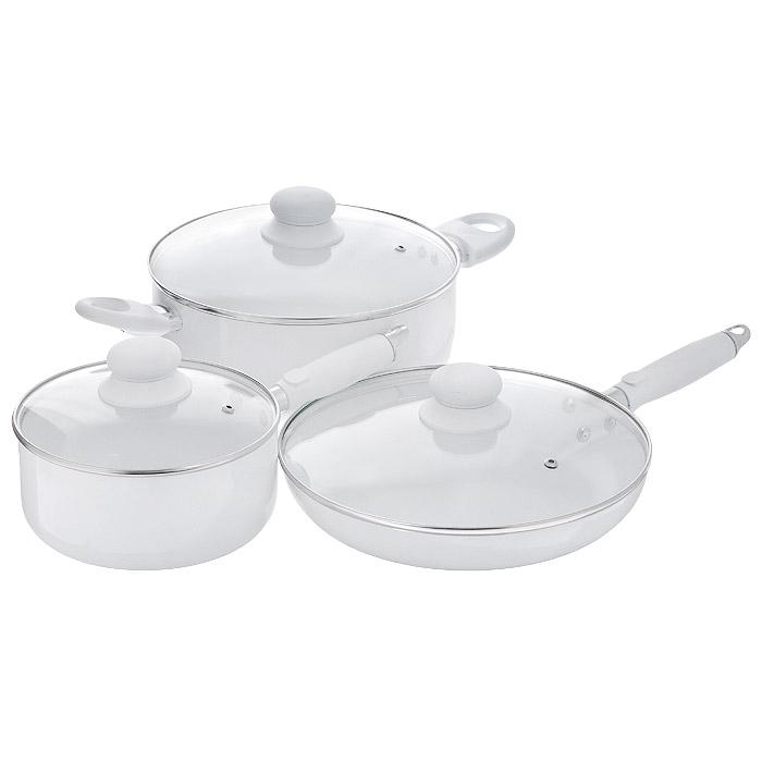 """Набор посуды Bradex """"Семейный ужин"""", с керамическим покрытием, цвет: белый, 6 предметов"""