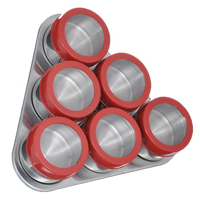 Набор банок для специй Mayer & Boch на подставке, цвет: красный, 80 мл, 6 шт21212Набор Mayer & Boch состоит из 6 банок для специй. Баночки изготовлены из нержавеющей стали. Крышки, выполненные из пластика красного цвета с прозрачным окошком, плотно закрываются и предотвращают высыпание специй. Имеются регулируемые отверстия, в зависимости от которых можно обильно или слегка приправить блюдо. Баночки идеально подойдут для соли, перца и много другого. Прозрачные крышки позволяют видеть содержимое баночки. Изделия размещаются на треугольной магнитной подставке, которую можно расположить как горизонтально, так и вертикально. Оригинальный набор эффектно украсит интерьер кухни, а также станет незаменимым помощником в приготовлении ваших любимых блюд. С таким набором специи надолго сохранят свежесть, аромат и пряный вкус.