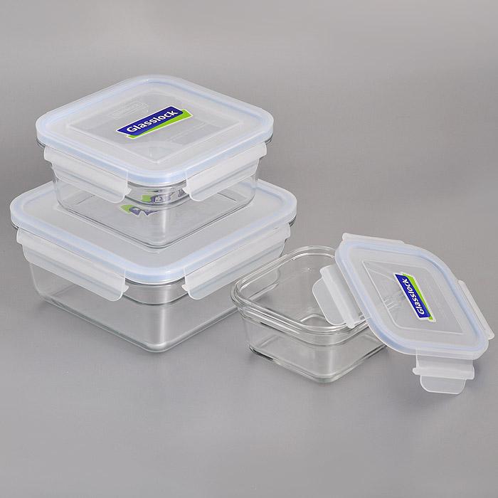 Набор квадратных контейнеров Glass Lock, цвет: голубой, 3 штZZ012658Набор Glass Lock состоит из трех квадратных контейнеров разного объема. Изделия выполнены из закаленного ударопрочного стекла, что гарантирует прочность и долгий срок службы. Материал изделий абсолютно экологичный и безопасный для здоровья, не содержит BPA (бисфенола). При нагревании в микроволновой печи стекло не выделяет никаких вредных веществ. Контейнеры оснащены пластиковыми крышками с конструкцией, обеспечивающей герметичность и долгое сохранение свежести и аромата продуктов. Контейнеры идеально подходят для хранения и переноски продуктов, разогрева и приготовления в СВЧ-печи. Можно использовать в качестве салатников и для сервировки пищи. Контейнеры складываются друг в друга, поэтому их легко хранить, и они не займут много места на вашей кухне. Можно использовать в СВЧ-печи, холодильнике, посудомоечной машине и морозильной камере.